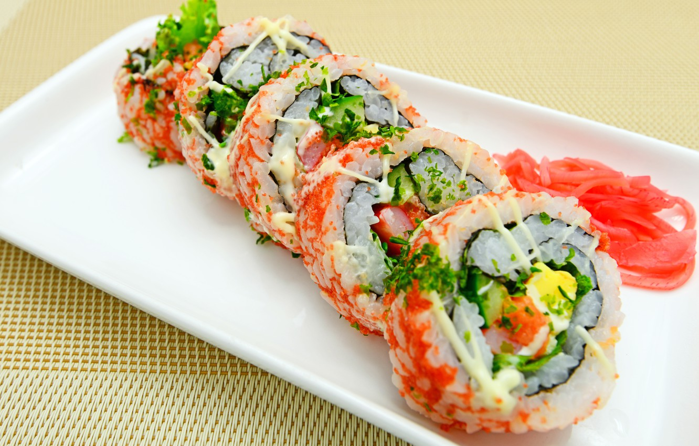 Photo wallpaper rolls, sushi, sushi, rolls, Japanese cuisine, ginger, ginger, Japanese cuisine