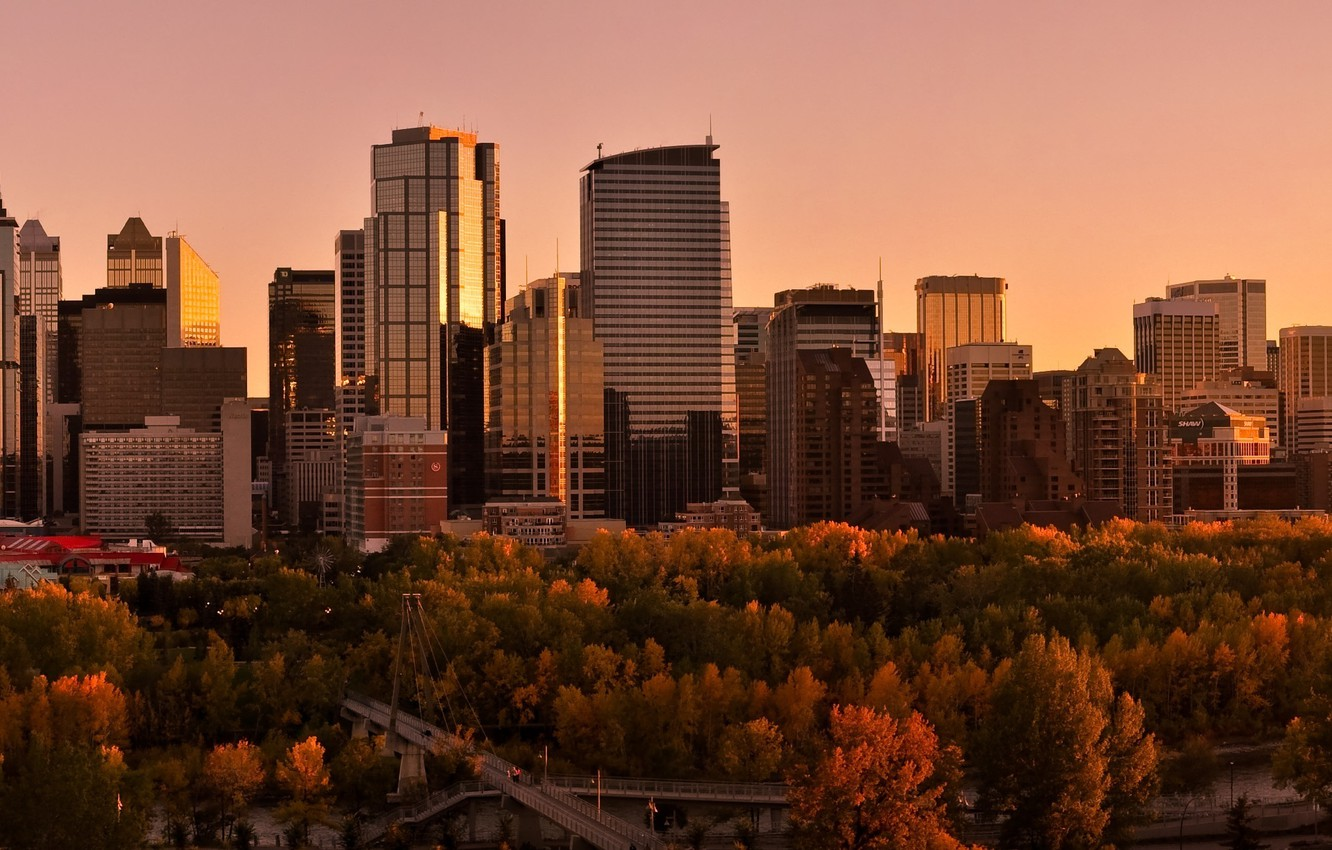 Photo wallpaper Sunset, The sky, Water, Home, Reflection, Road, The city, Autumn, Trees, River, Panorama, Canada, Skyscrapers, …