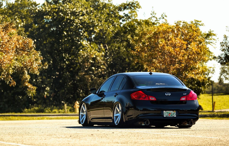 Photo wallpaper black, Infiniti, black, infiniti, sedan, G37, rearside