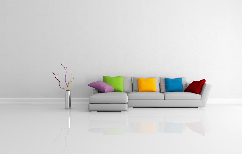Photo wallpaper reflection, room, sofa, pillow, vase, Modern