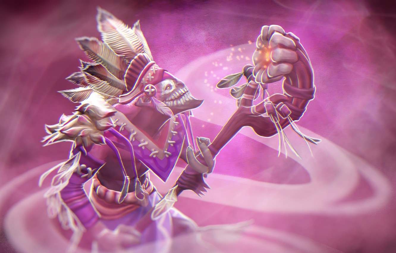 Wallpaper pink, magic, the game, dota 2, priest, dazzle images for desktop,  section игры - download