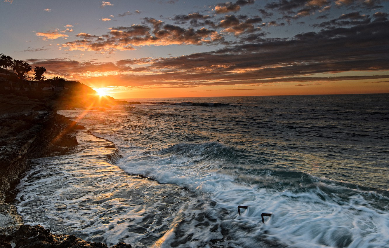 Photo wallpaper sunset, coast, Spain, Spain, Valencia, The Mediterranean sea, Alicante, Alicante