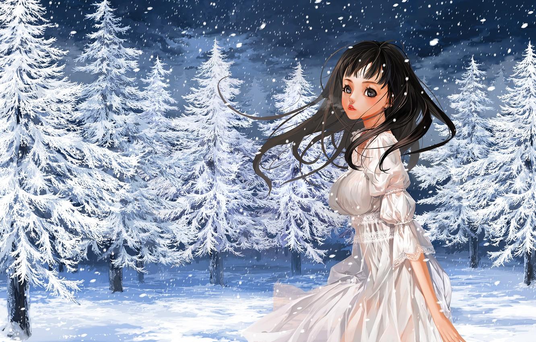 Photo wallpaper winter, girl, snow, nature, tree, anime, art, couples, justminor