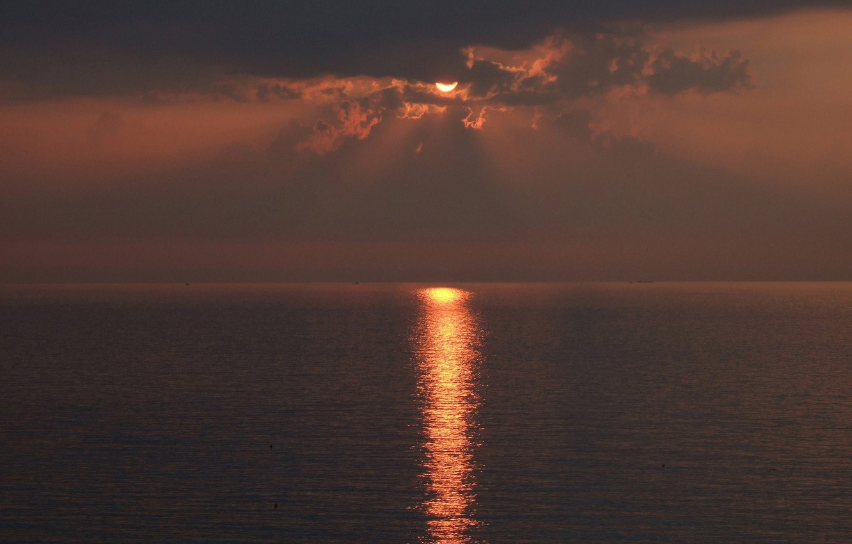 Photo wallpaper sea, the sun, sunset, the evening, solar path