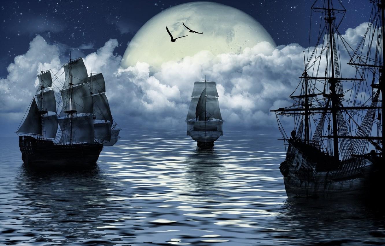 Photo wallpaper sea, fantasy, the moon, ship, moon, fantasy, sea, ship, sailing, sailing