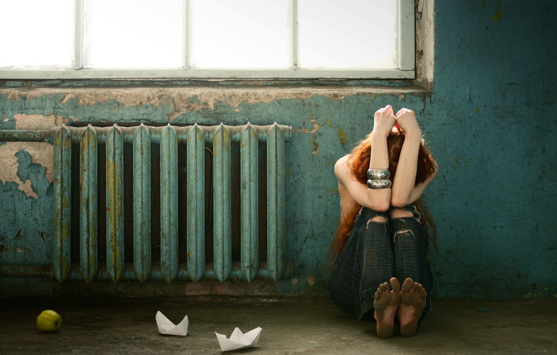 Photo wallpaper girl, Apple, window, bracelets, battery, entrance, paper boats