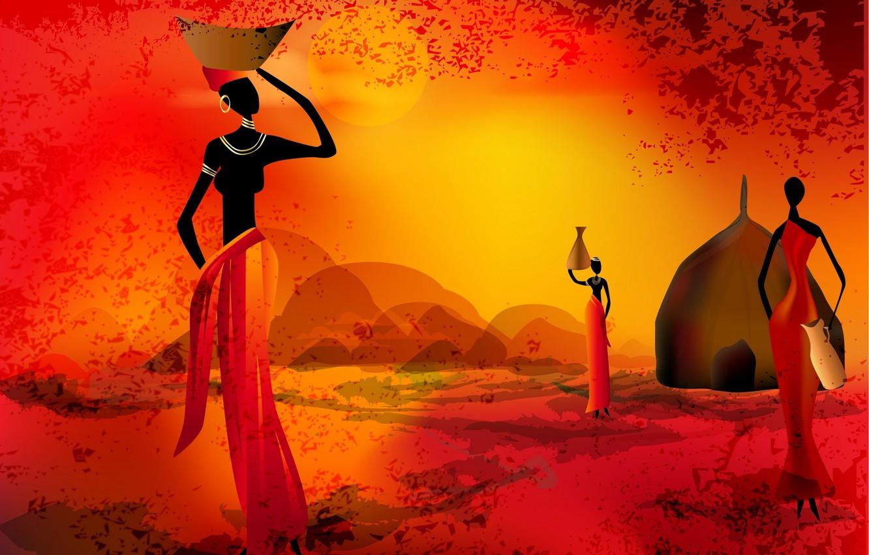 Photo wallpaper women, the sun, sunset, silhouette, Africa