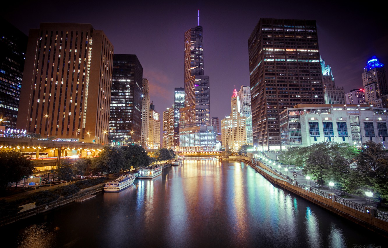 Photo wallpaper night, the city, lights, river, skyscrapers, Chicago, Chicago, Illinois