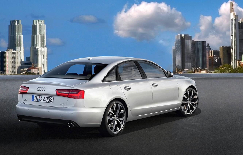 Photo wallpaper the city, Audi, Auto, Grey, Day, Sedan