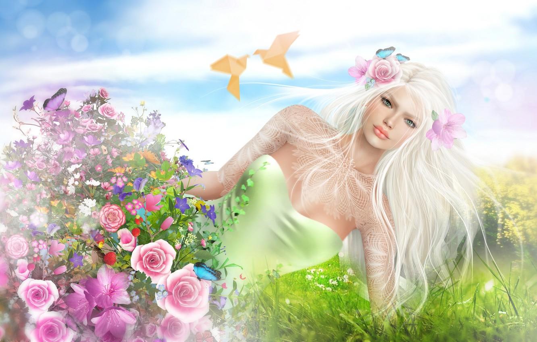 Photo wallpaper girl, flowers, birds, spring, blonde