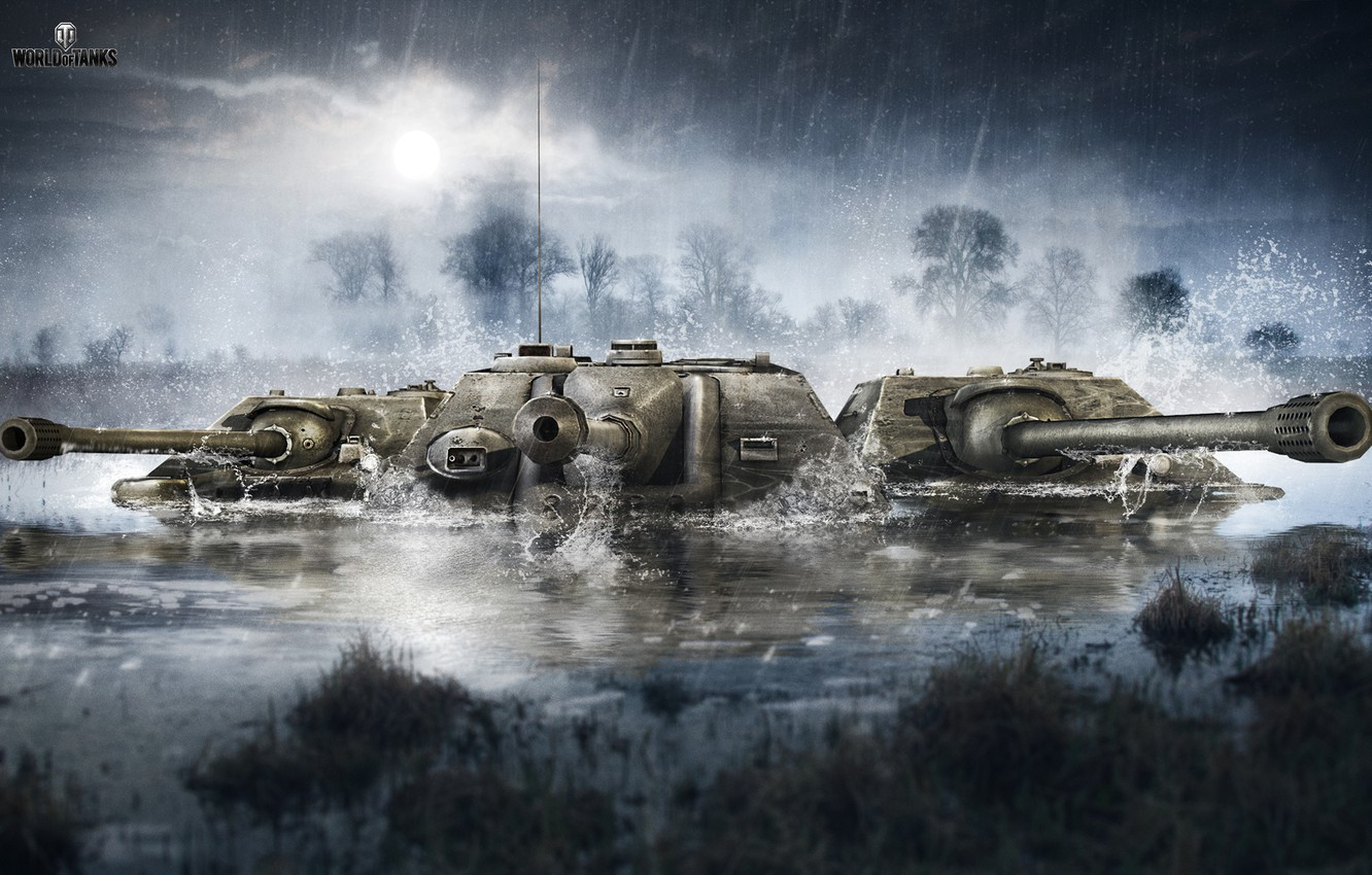 Photo wallpaper The sky, Water, Clouds, Trees, Rain, WoT, World of Tanks, World Of Tanks, Wargaming Net, …