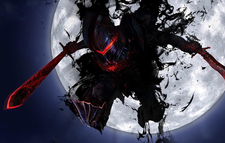 Photo wallpaper weapons, jump, the moon, sword, art, armor, fate stay night, armor, fate zero, maningusu, berserker