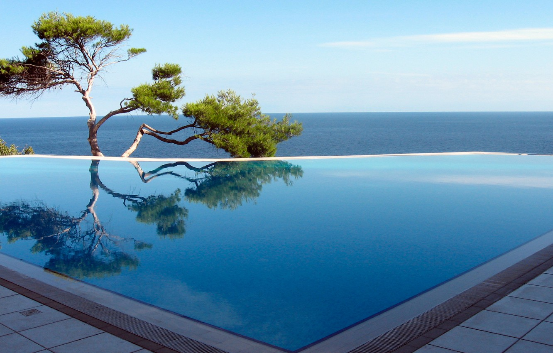 Photo wallpaper sea, tree, pool