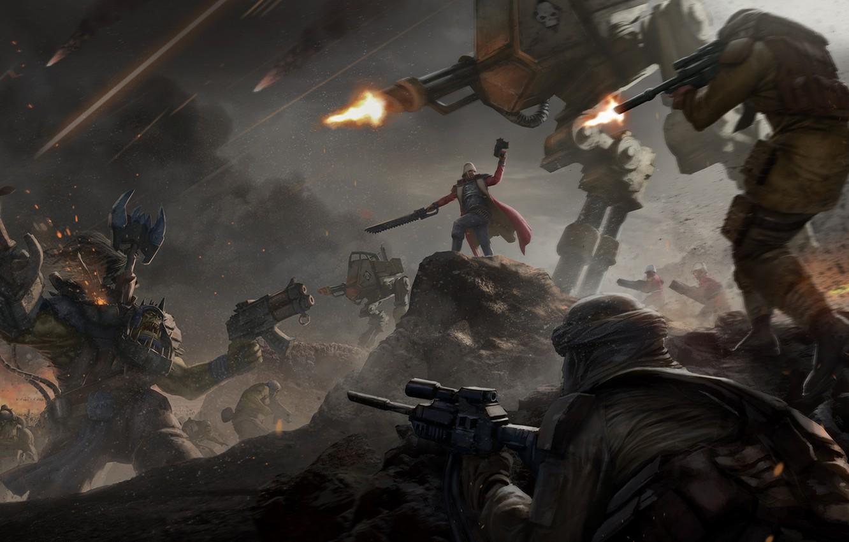 Photo wallpaper war, battle, Warhammer, Warhammer 40k, empire, orks