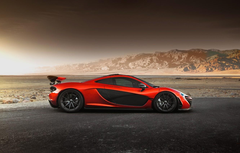 Photo wallpaper McLaren, Orange, Hybrid, Side, Death, Sand, Supercar, Valley, Hypercar, Exotic, Volcano