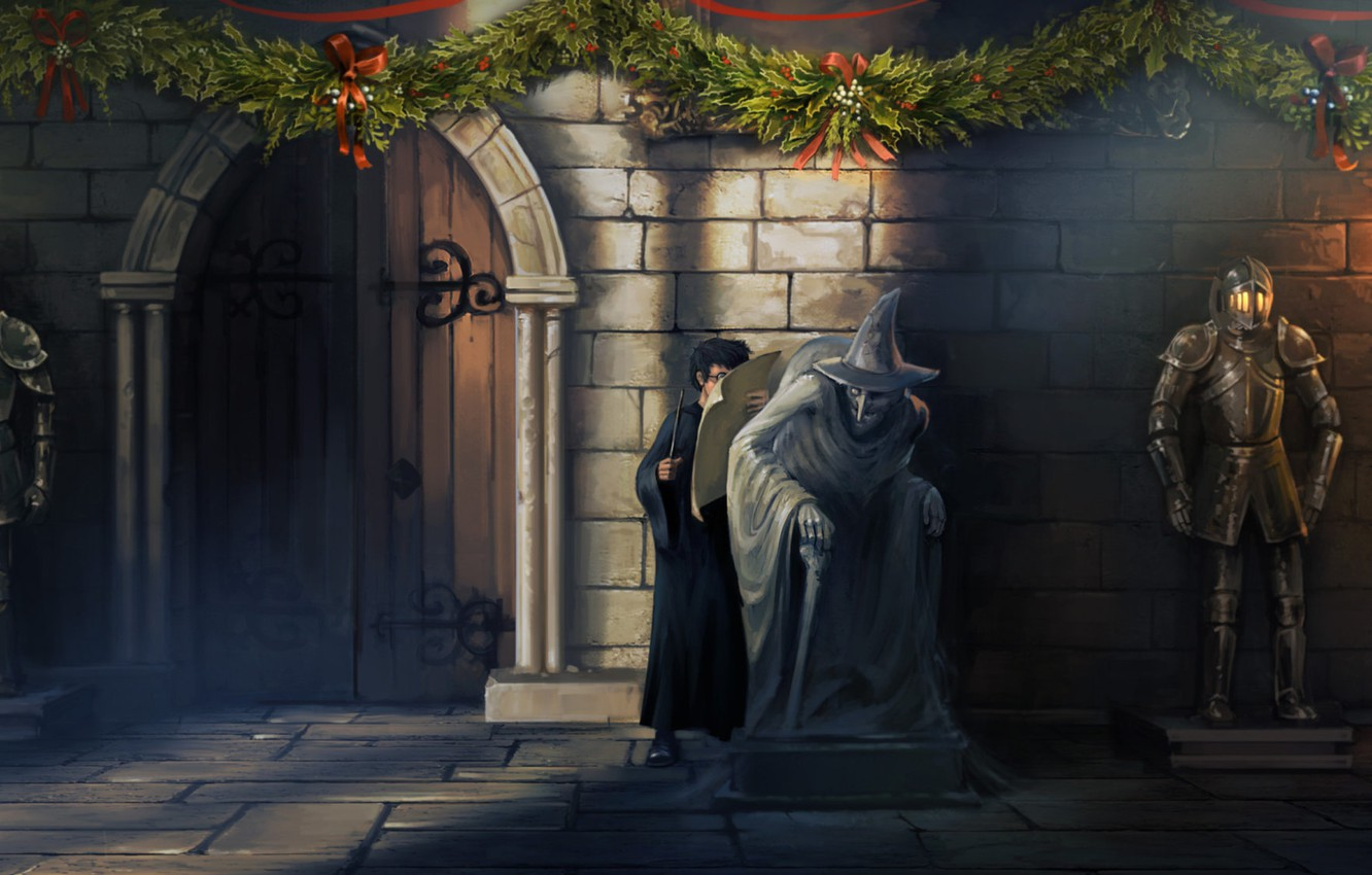 Wallpaper Armor Christmas Statue Harry Potter Witch The