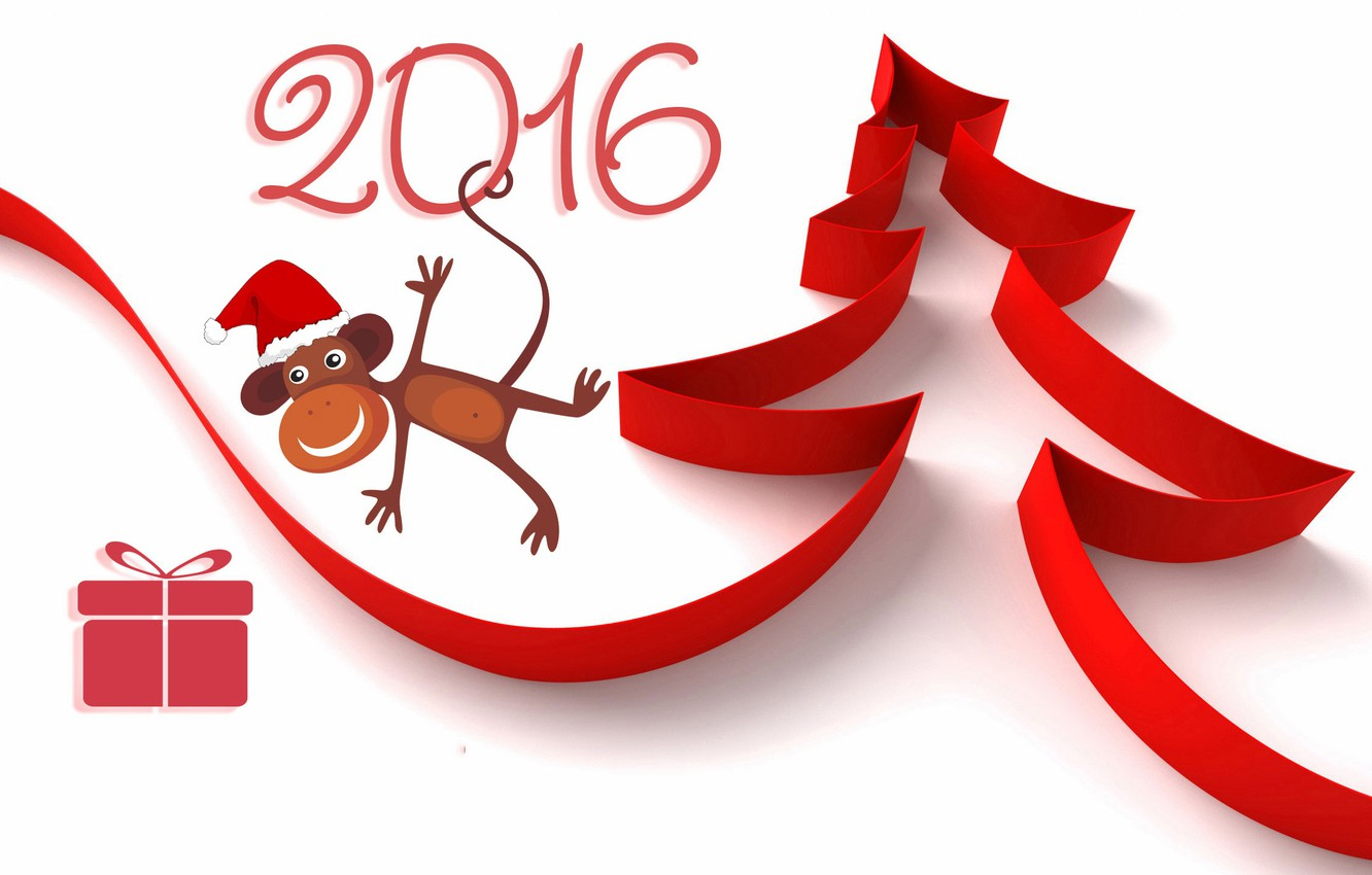 Photo wallpaper red, box, gift, figure, new year, figures, tape, white background, tree, monkey, 2016, Wallpaper from …
