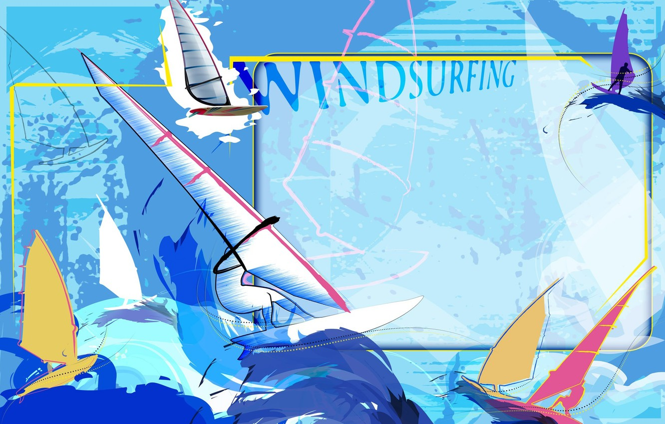 Photo wallpaper sea, abstraction, the wind, stay, collage, Wallpaper, wave, vector, sail, Board, Windsurfing, windsurfing