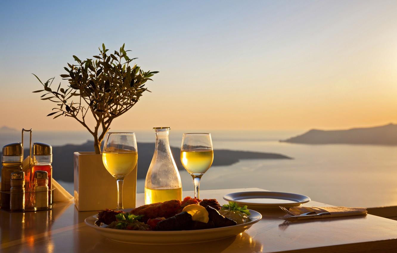 Photo wallpaper sea, landscape, sunset, table, food, glasses, plates, serving