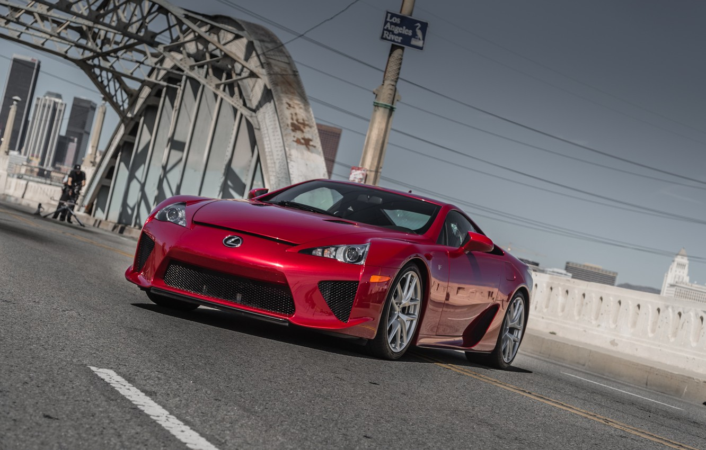 Photo wallpaper Lexus, red, bridge, lfa