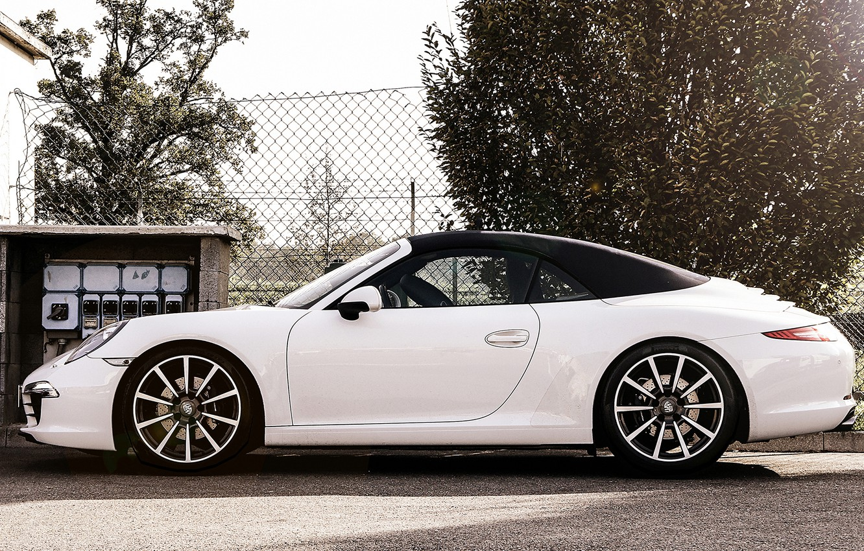 Photo wallpaper white, the sun, trees, the fence, Porsche, white, convertible, Porsche, tree, sun, cabrio, carrera, 991