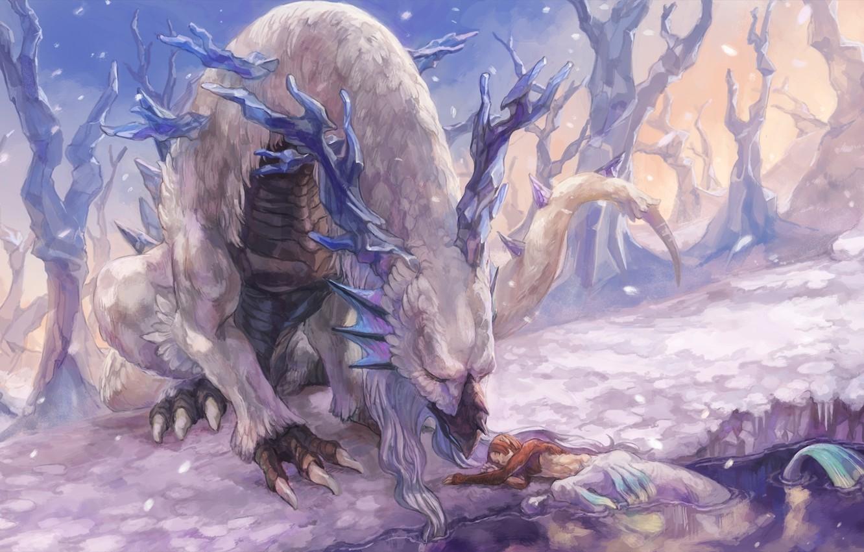 Photo wallpaper forest, white, snow, lake, dragon, elf, tail, horns