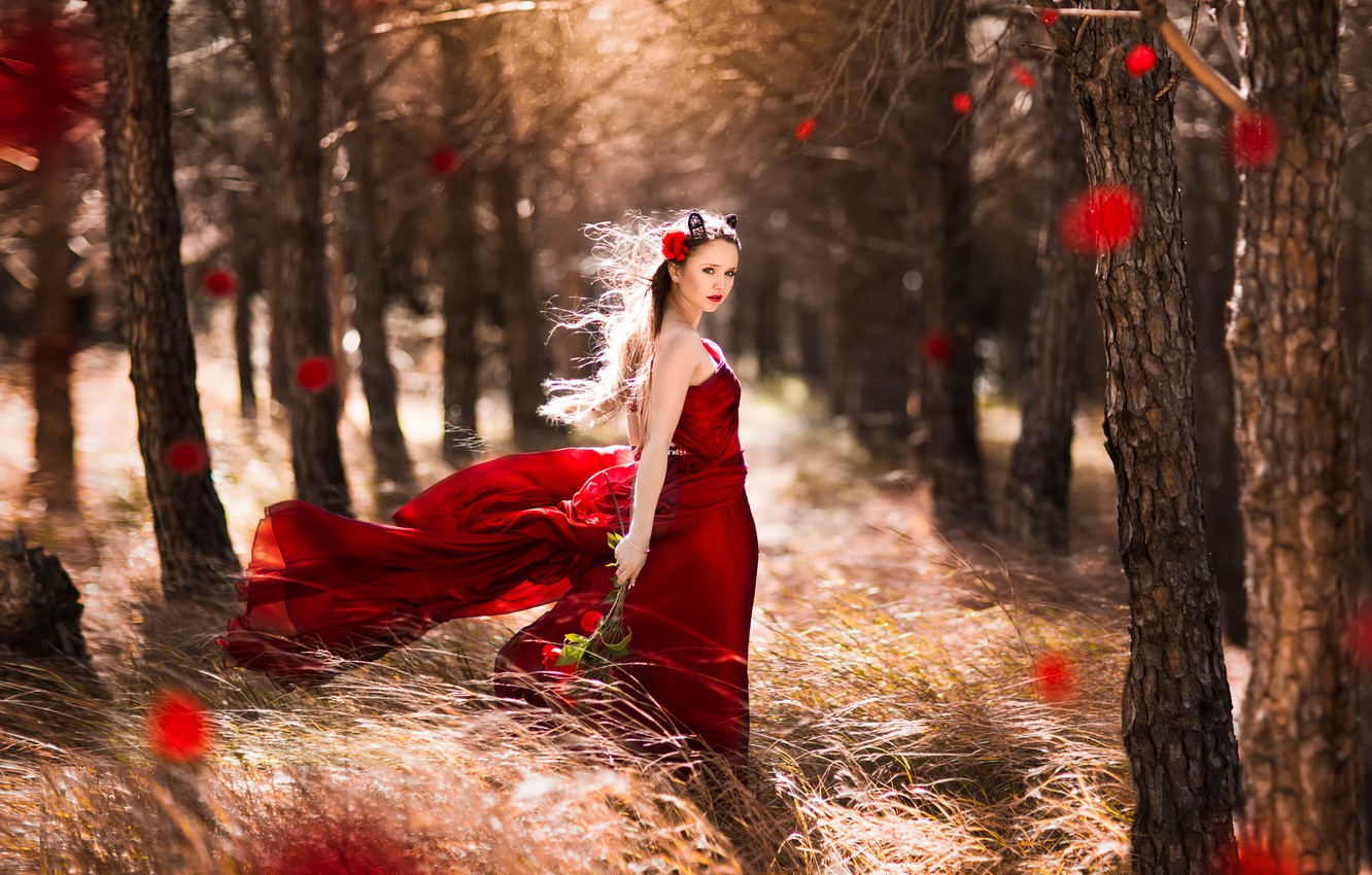 Photo wallpaper forest, girl, the wind, roses, dress, in red, Little, Red Riding Hood, Shooting fantasy