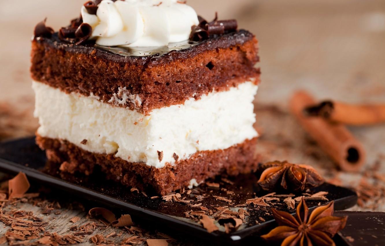 Photo wallpaper sweets, cake, cake, cinnamon, cream, dessert, chocolate, glaze, Anis