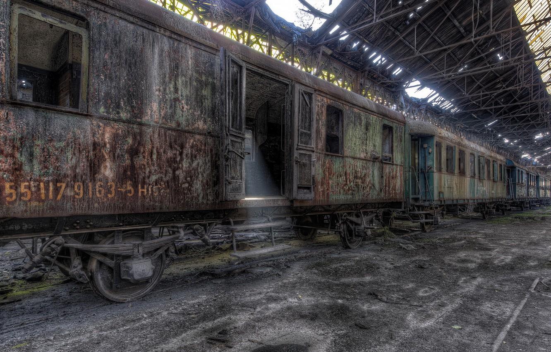 Photo wallpaper train, station, cars, scrap