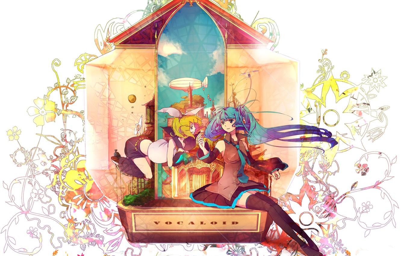 Photo wallpaper girl, abstraction, anime, art, vocaloid, hatsune miku, kagamine rin, chiho, buchiko
