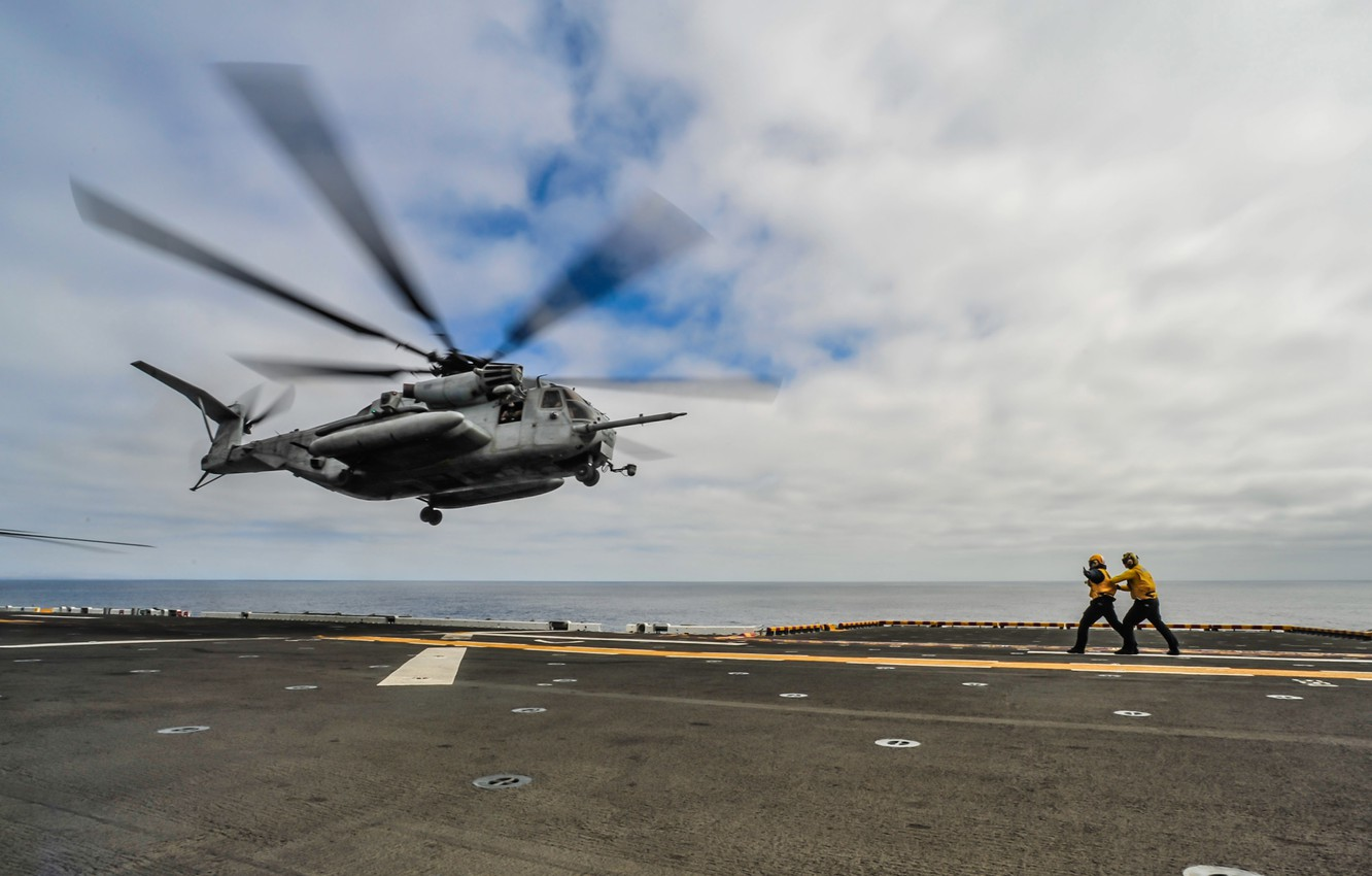 Photo wallpaper sea, clouds, the carrier, the rise, Helicopter