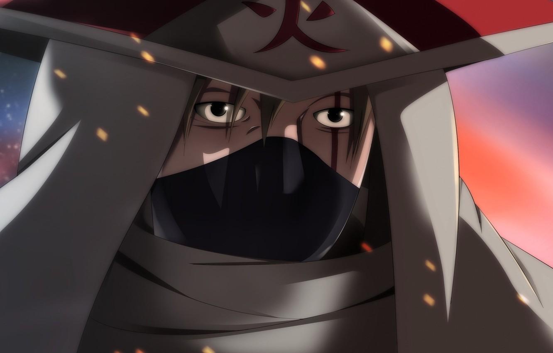 Photo wallpaper fire, flame, game, Naruto, sky, hat, anime, man, face, ninja, asian, film, manga, hokage, shinobi, …