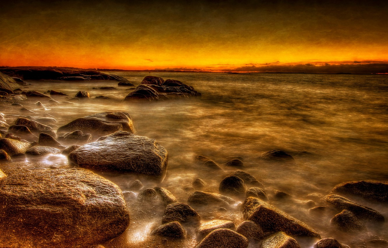 Photo wallpaper sea, landscape, sunset, style, background