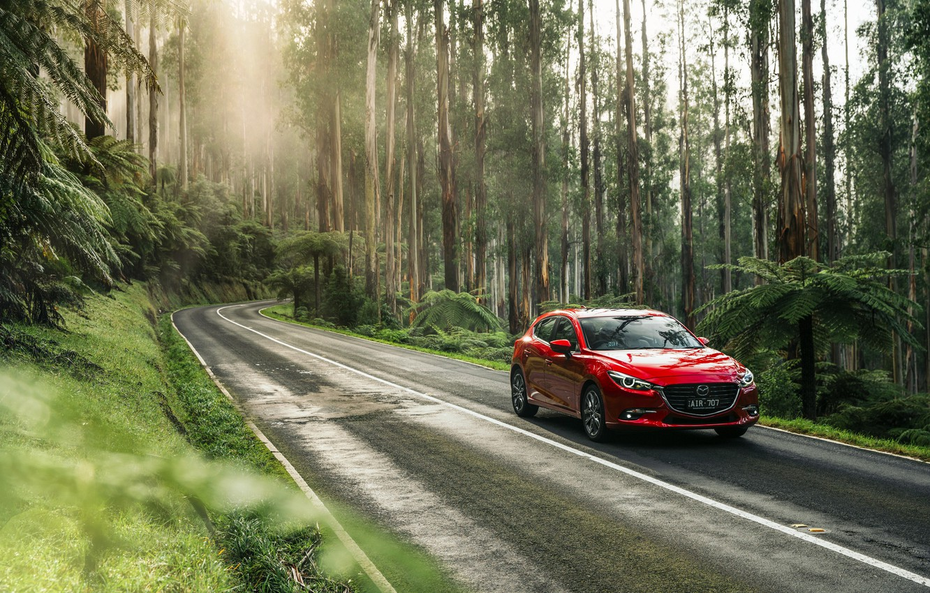 Photo wallpaper Red, Nature, Road, Forest, Machine, Mazda, Car, Car, 2016, Metallic, SP25, Astina Hatchback