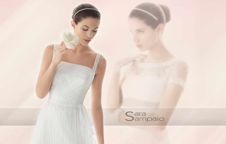 Photo wallpaper girl, model, brunette, white dress, Sara Sampaio, white rose