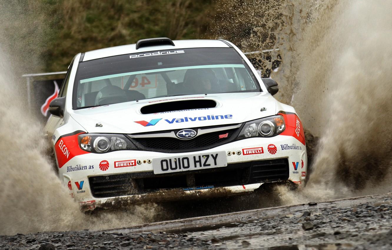 Photo wallpaper Water, Auto, White, Subaru, Impreza, Sport, Machine, Race, The hood, Squirt, Lights, wrc, Rally, The …
