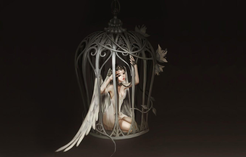 Photo wallpaper girl, flowers, wings, cell, Angel, chain, art, bodo1983