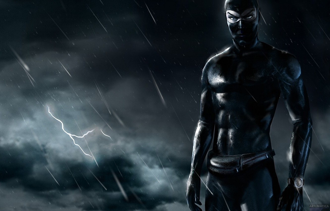 Photo wallpaper night, black, lightning, DIABOLIK, ninja