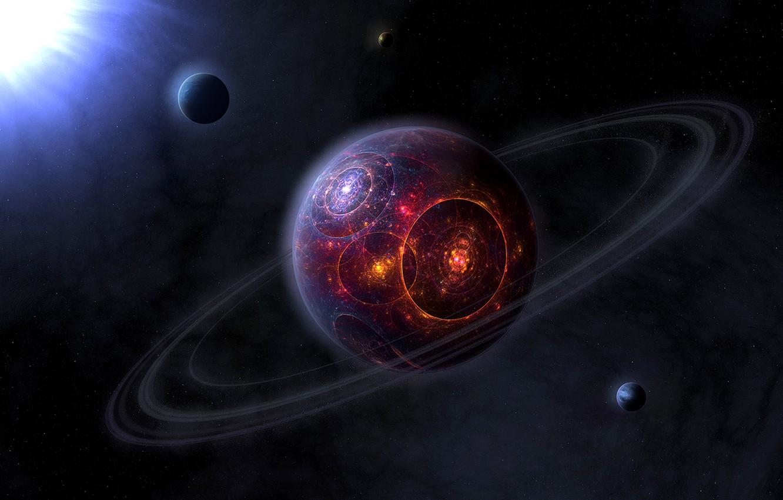 Photo wallpaper circles, planet, Sci FI, strange