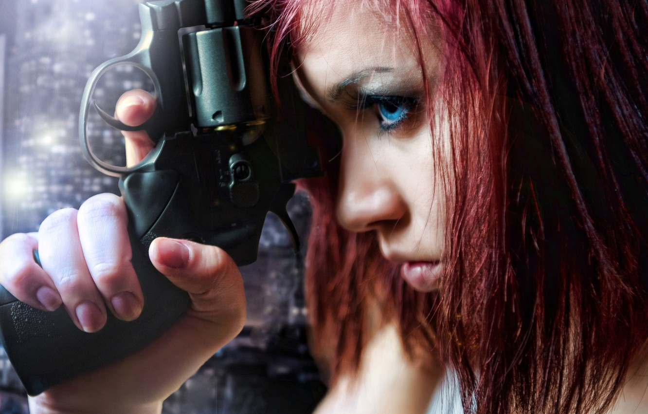 Photo wallpaper look, girl, weapons, profile, red hair