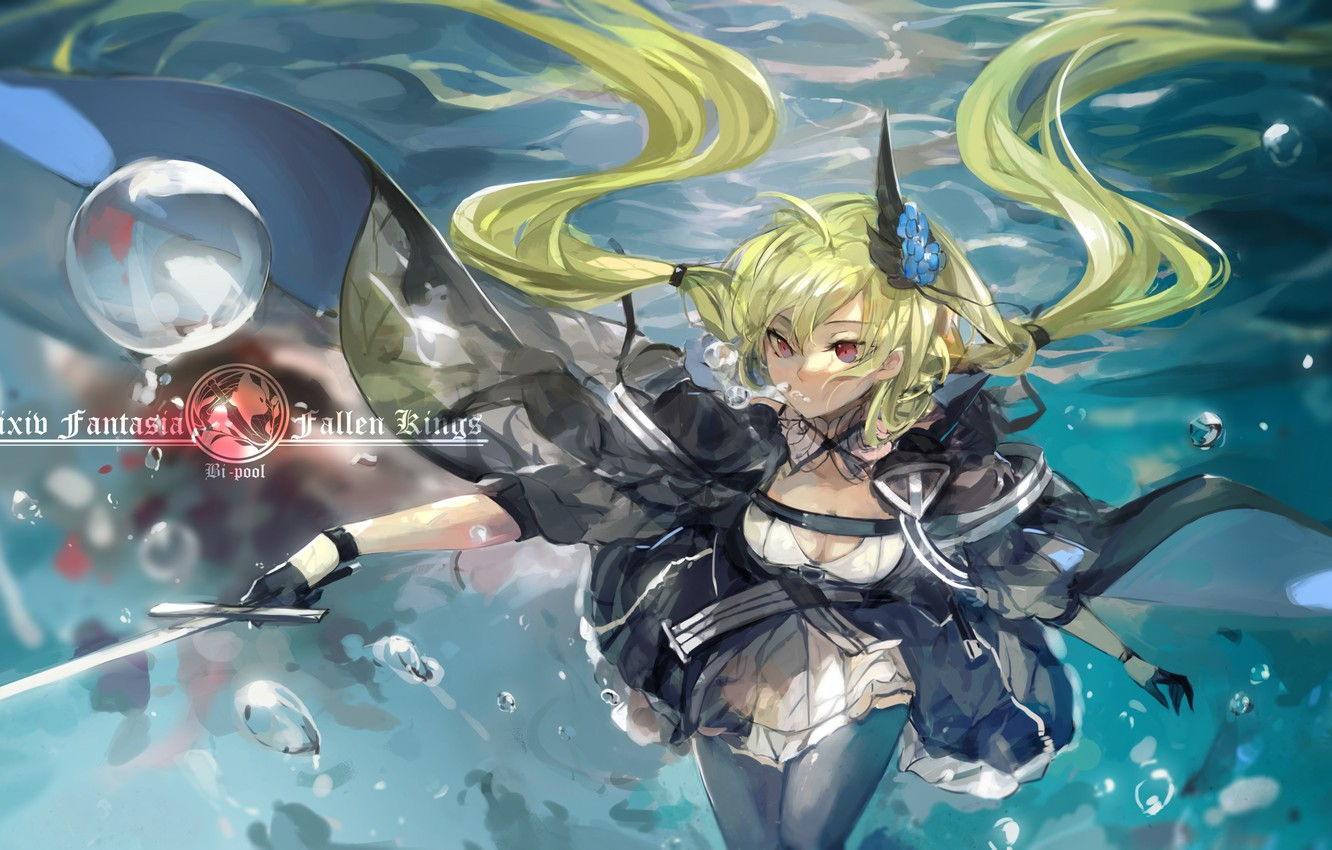 Photo wallpaper girl, bubbles, weapons, sword, anime, art, under water, pixiv fantasia, saberiii, army chief