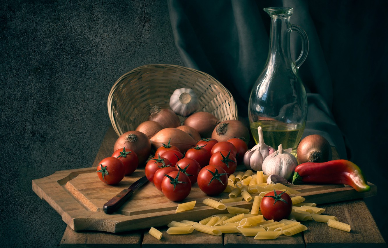 Photo wallpaper bow, knife, Board, pepper, tomatoes, garlic, pasta, Good appetite