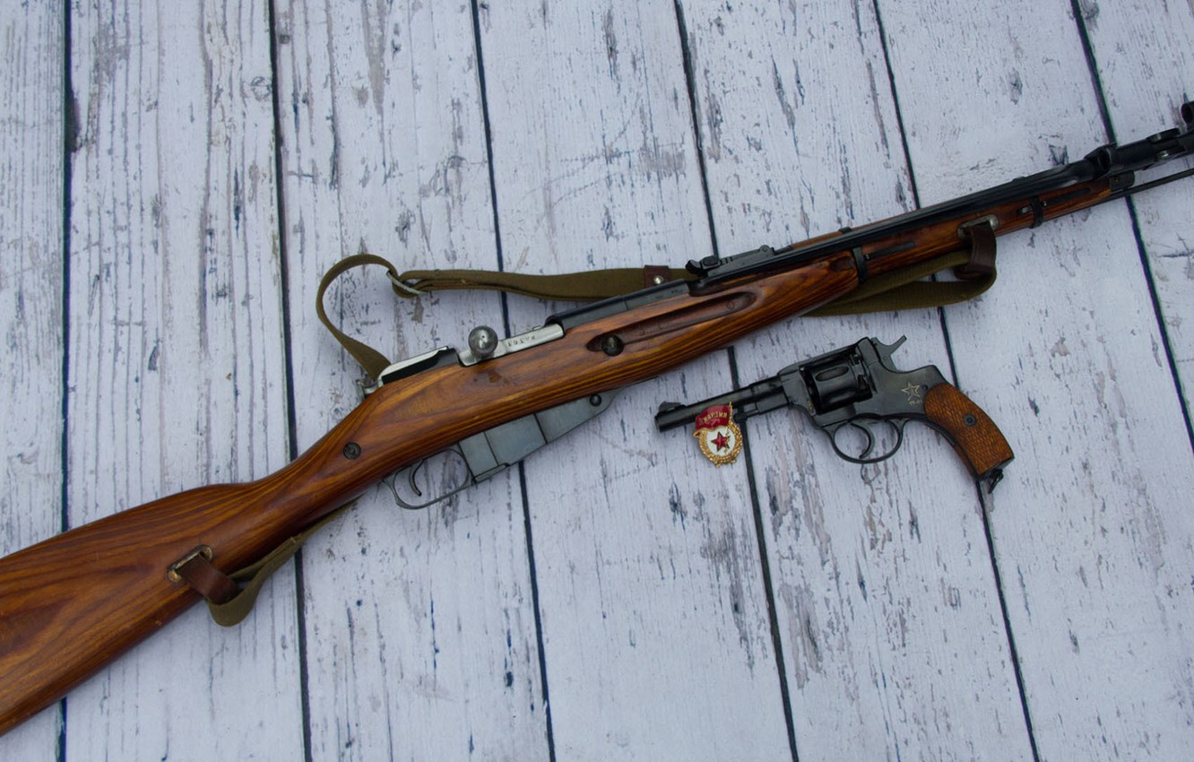 Photo wallpaper weapons, background, icon, revolver, rifle, Mosin