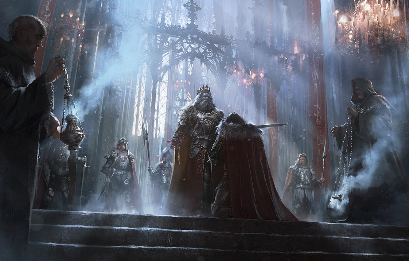 Photo wallpaper fantasy, ritual, monk, hall, knight, Kingdom, the middle ages, king, coronation