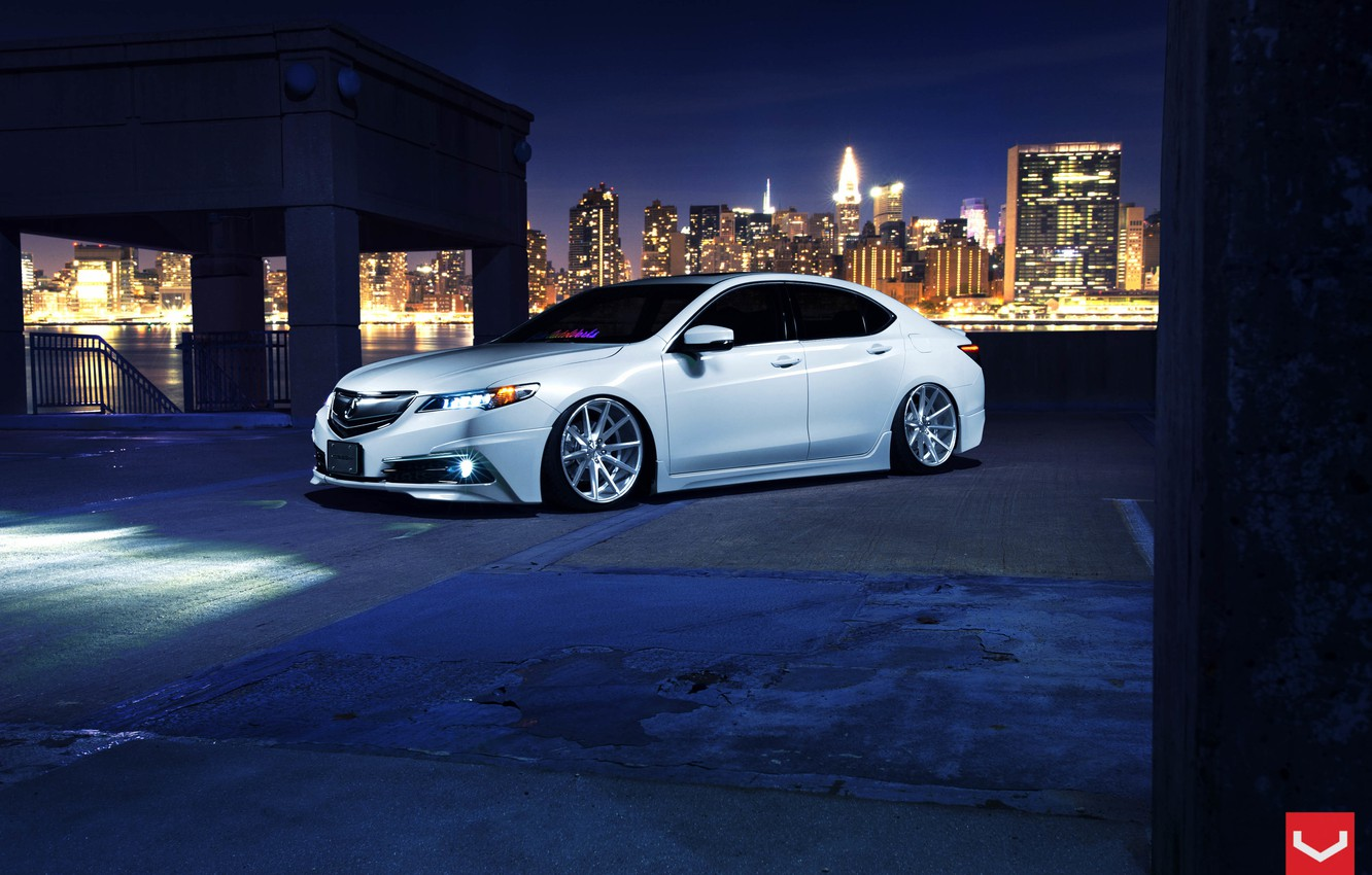 Photo wallpaper Car, White, Tuning, Acura, Vossen, Wheels, TLX, Nigth