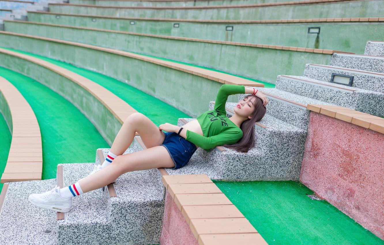 Photo wallpaper girl, lies, steps, legs, Asian, stadium