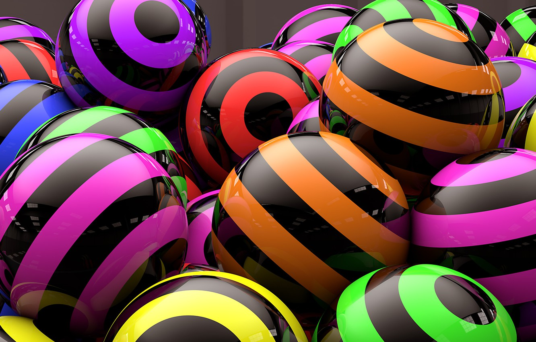 Photo wallpaper balls, strip, rendering, colorful