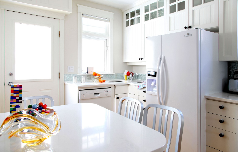 Photo wallpaper white, table, room, furniture, color, interior, refrigerator, kitchen