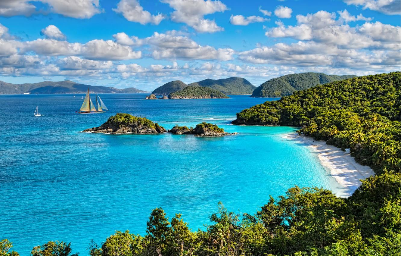 Photo wallpaper sea, beach, the sun, Islands, clouds, trees, stones, coast, yachts, USA, St. John, Virgin Islands …