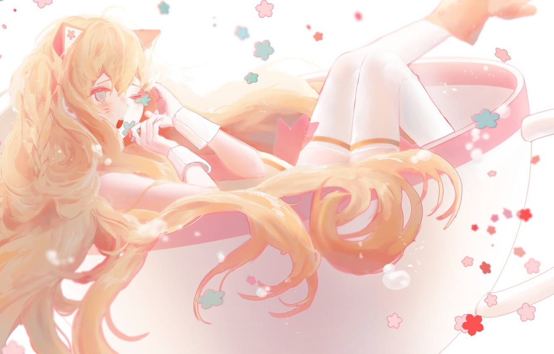 Photo wallpaper girl, flowers, anime, art, Cup, vocaloid, ears, seeu